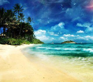 Обои на телефон тропические, сюрреалистичный, синие, пляж, пейзаж, небо, surreal beach, hd, full
