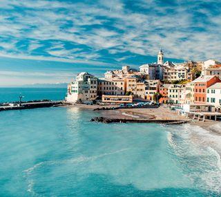 Обои на телефон берег, синие, море, италия, дома
