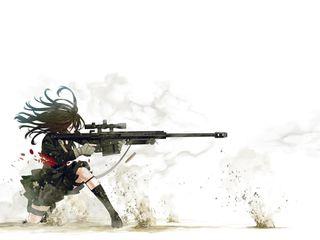 Обои на телефон черные, снайпер, девушки, аниме, anime sniper