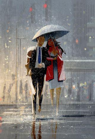 Обои на телефон женщина, улица, платье, пара, костюм, дождь, амбрелла, man