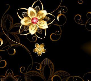 Обои на телефон цветы, сияние, золотые