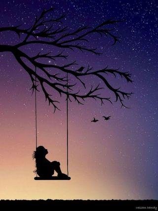Обои на телефон силуэт, птицы, одинокий, ночь, звездное, закат, дерево, девушки, галактика, ветка, swing, galaxy swing
