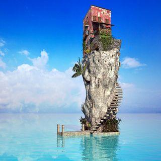 Обои на телефон стена, приятные, море, дом, house in the sea