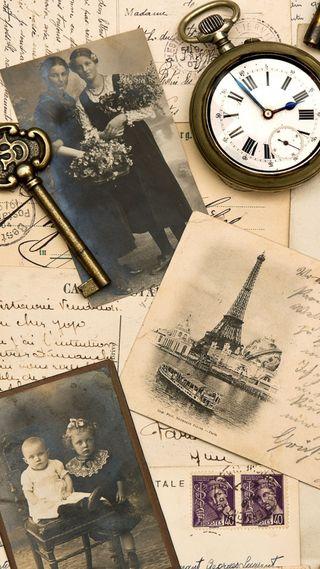 Обои на телефон фотографии, эйфелева башня, часы, фото, ключ, карты, винтаж, башня, post