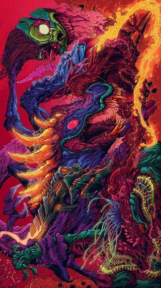 Обои на телефон зверь, цветные, ультра, огонь, ultra hyper beast, monster