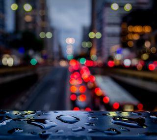 Обои на телефон огни, дождь, город