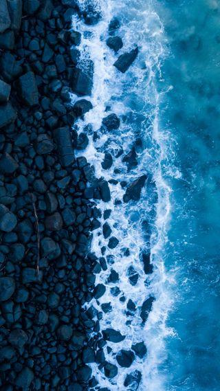 Обои на телефон релакс, синие, море