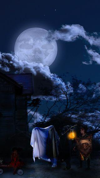 Обои на телефон хэллоуин, темные, призрак, ночь, луна, helloween, ghost