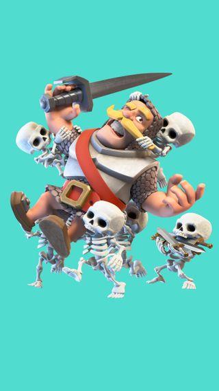 Обои на телефон рыцарь, скелет, рояль, supercell, clash