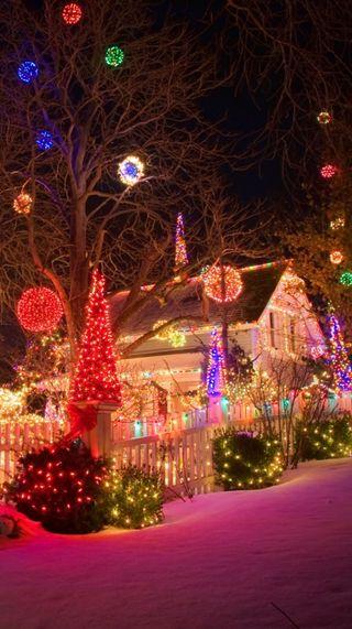 Обои на телефон дом, рождество, праздник, огни