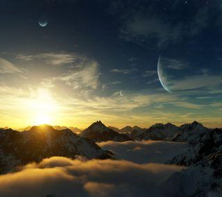 Обои на телефон облачно, цифровое, планета, небо, луна, горы, арт, cloudy mountains, cloudy mounstains