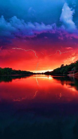 Обои на телефон облачно, приятные, облака, небо, молния, крутые, закат, восход