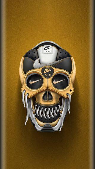 Обои на телефон череп, супер, стиль, спорт, найк, золотые, дизайн, грани, s7, nike, edge style, air