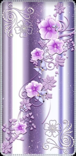 Обои на телефон бриллиант, цветы, цветочные, фиолетовые, стекло, симпатичные, девчачие, бабочки
