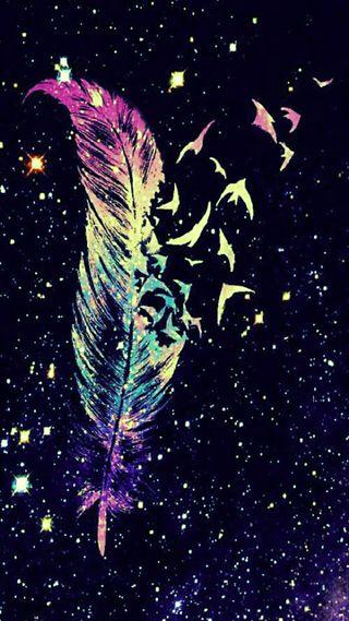 Обои на телефон птицы, перо, красочные, звезды, галактика, galaxy