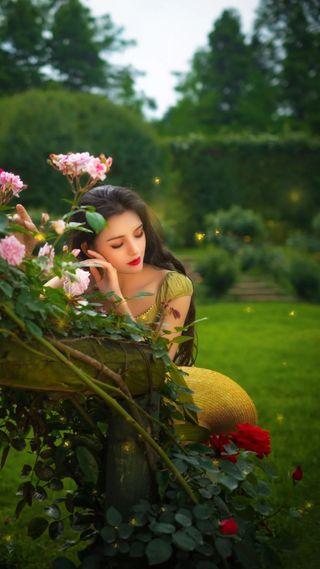 Обои на телефон настроение, цветы, симпатичные, сад, розы, милые, девушки, грустные, азиатские, hd