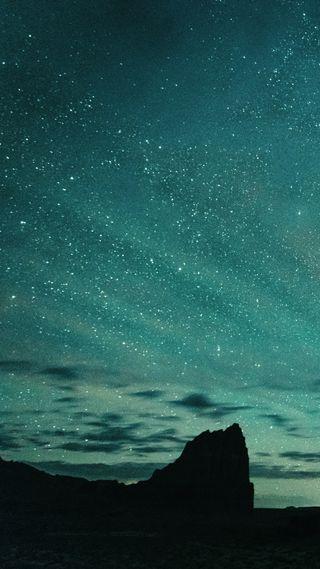 Обои на телефон цвет морской волны, пейзаж, небо, звезды, горы