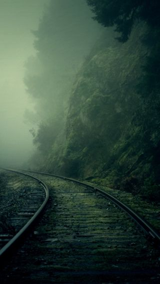 Обои на телефон туманные, поезда, туман, темные, рельсы, крутые, зеленые, train rail, foggy rails