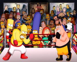 Обои на телефон симпсоны, семья, против, парень, мультфильмы, забавные, family guyvs simpson, family guy vs simpso, cartoon funny