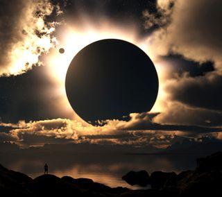 Обои на телефон луна, горизонт, the moon