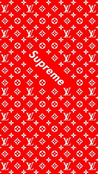 Обои на телефон луи витон, красые, дизайн, supreme x lv 2, supreme