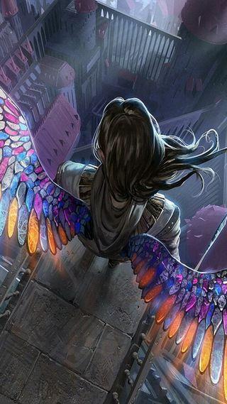 Обои на телефон летать, мультфильмы, крылья, красочные, аниме