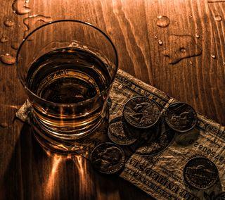 Обои на телефон напиток, дерево, деньги, виски, алкоголь, cash and coin