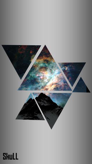Обои на телефон треугольники, цветные, галактика, galaxy, cinematic triangles