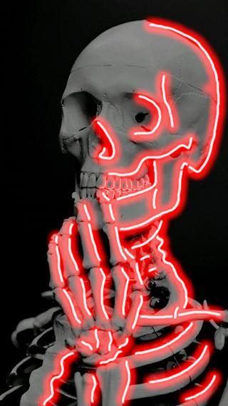 Обои на телефон скелет, огни, неоновые, мышление, красые