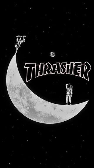 Обои на телефон скейт, луна, космос, thrasher moon, thrasher