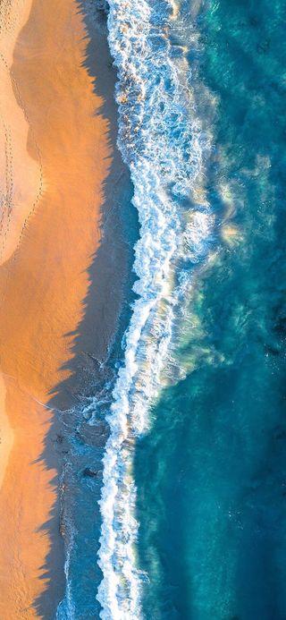 Обои на телефон песок, синие, простые, океан, космос, земля, волны, вода, hd, 4k