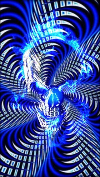 Обои на телефон спираль, черные, череп, синие, пламя, огонь, дизайн, белые