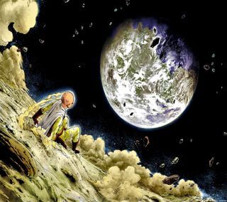 Обои на телефон сайтама, панч, луна, saitama in the moon