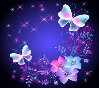 Обои на телефон цветочные, сверкающие, неоновые, красочные, бабочки, абстрактные
