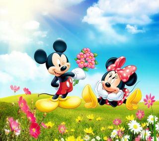 Обои на телефон минни, цветы, романтика, микки, маус, дисней, весна, disney