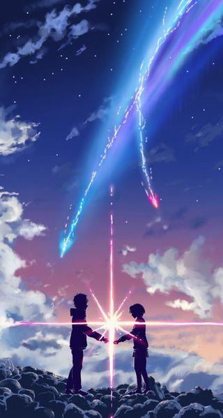Обои на телефон 2016, comet, kimi no na wa, love, любовь, аниме, фильмы, имя, твой