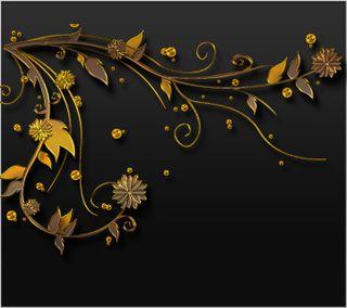Обои на телефон цифровое, черные, цветы, золотые, дизайн, векторные, арт, абстрактные, art