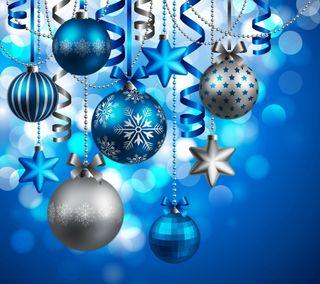 Обои на телефон шары, украшение, счастливое, синие, рождество, новый, звезды