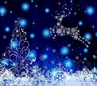 Обои на телефон синие, рождество, зима, снег, счастливое, украшение, снежинки