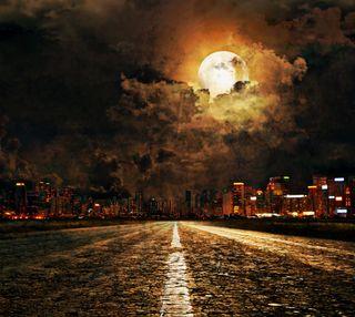 Обои на телефон облачно, природа, огни, ночь, лунный свет, луна, дорога, город