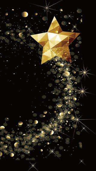 Обои на телефон многоугольник, черные, сияние, рождество, звезды, желтые, блестящие