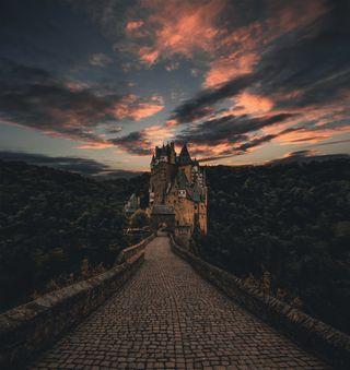 Обои на телефон замок, дорога, вампиры, castles