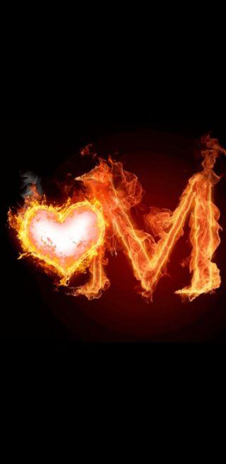 Обои на телефон буквы, огонь, любовь, m letter, love