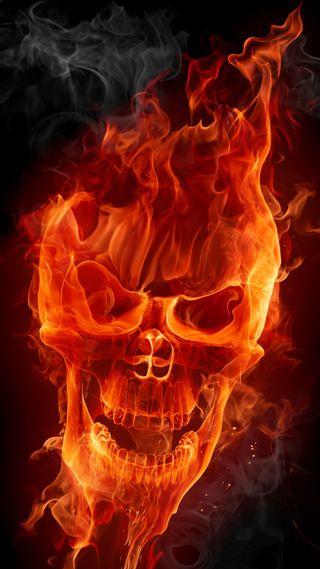 Обои на телефон фантазия, череп, огонь, кости, flaming skull, 3д, 3d