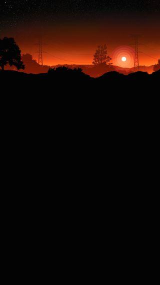 Обои на телефон 929, evening sky, черные, новый, небо, закат, симпатичные, плоские, вечер, на улице, сумерки