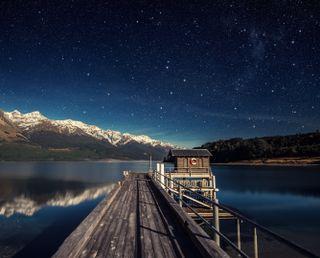 Обои на телефон озеро, природа, ночь