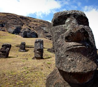 Обои на телефон чили, голова, пасхальные, остров, statues, easter island