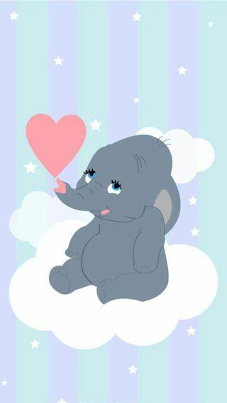 Обои на телефон слон, сердце, облака, милые, малыш, дисней, dumbo, disney