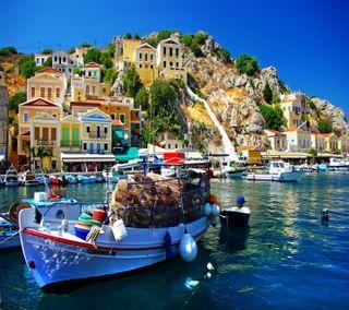 Обои на телефон греция, синие, прекрасные, небо, лодки, вода, water boat blue sky, beautiful greece