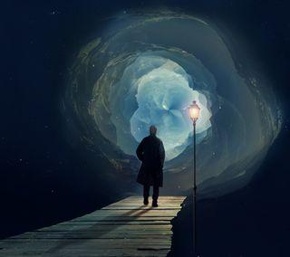 Обои на телефон иллюзии, черные, синие, путь, огни, космос, галактика, way to illusion, man, galaxy